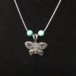 Silver Butterfly Necklace New